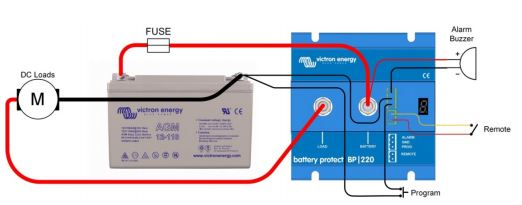 Victron BatteryProtect pajungimo schema