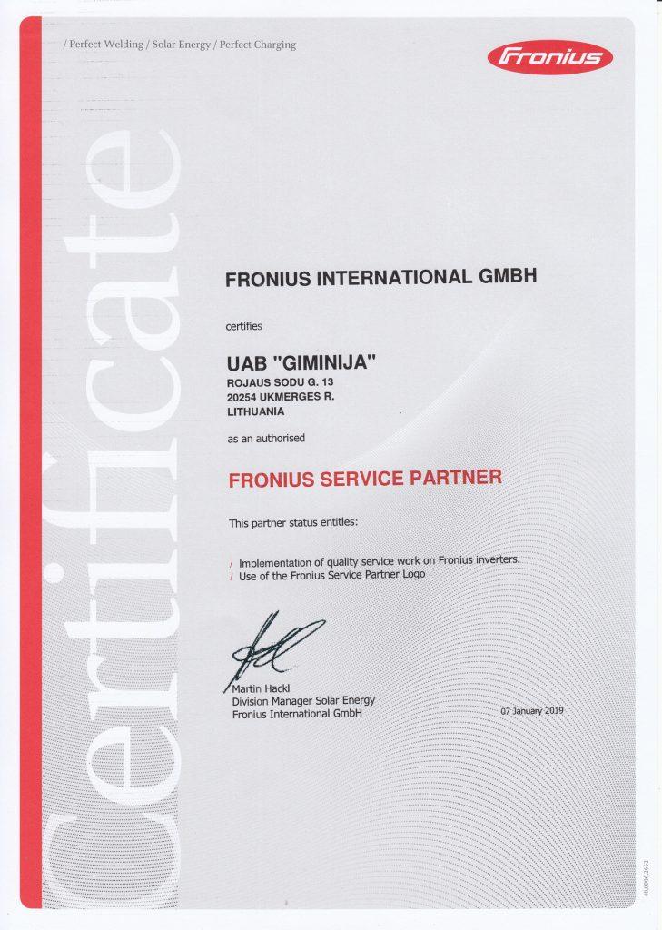 Fronius serviso partnerio sertifikatas