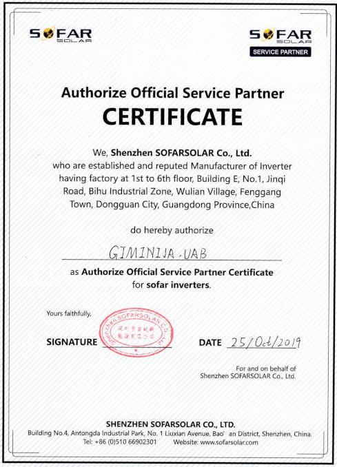 Sofar sertifikatas